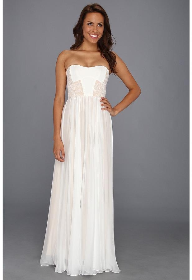 ABS by Allen Schwartz Bustier Flared Gown (Off White/Nude) - Apparel
