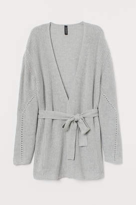 H&M Cardigan with Tie Belt - Gray