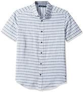 Nautica Men's Short Slv Classic Fit Linen Blend Striped Button Down Shirt