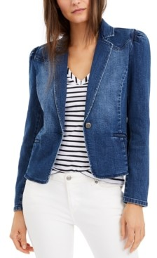 INC International Concepts Inc Puff-Sleeve Denim Blazer, Created for Macy's