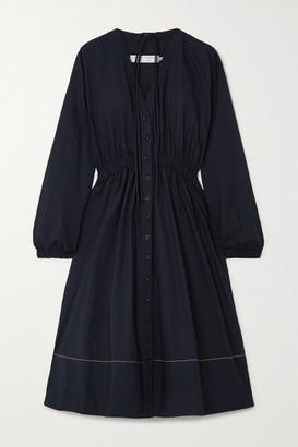 Proenza Schouler White Label Oversized Tie-detailed Cotton-poplin Midi Dress - Navy