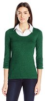 Notations Women's 3/4 Sleeve Marled Sweater with Solid Woven Inset and Necklace