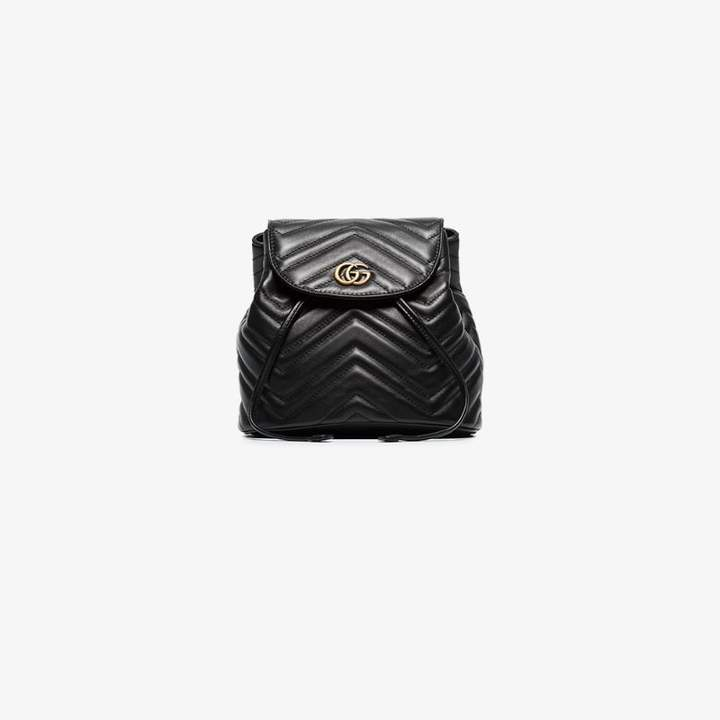Gucci Ladies Black Chevron Leather GG Marmont Matelasse Backpack