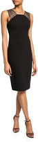 Halston Sleeveless Square-Neck Crepe Dress with Shoulder Strips