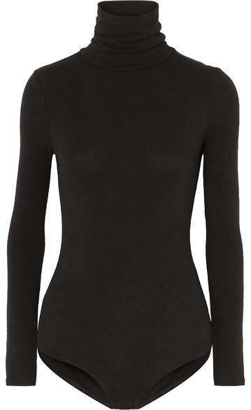 Madewell Renay Stretch Cotton-blend Jersey Turtleneck Bodysuit - Black