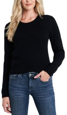 CeCe Crew-Neck Puffed-Shoulder Sweater