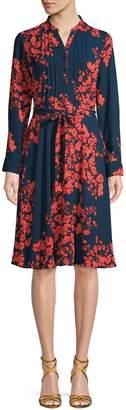 Nanette Lepore Nanette Floral-Print Pleated Knee-Length Dress