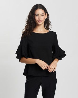 Atmos & Here Atmos&Here - Women's Black Shirts & Blouses - Fiona Ruffle Sleeve Top - Size 8 at The Iconic