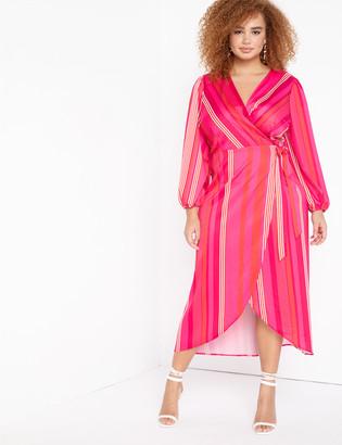 ELOQUII Striped Maxi Wrap Dress