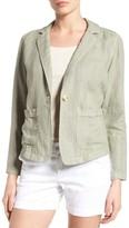 Petite Women's Caslon Linen One-Button Blazer