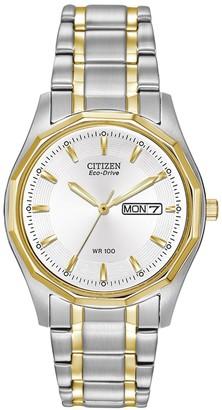 Citizen Men's Eco Drive White Dial Two-tone Watch, 37mm