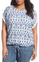 Plus Size Women's Caslon Print Front Drawstring Hem Top