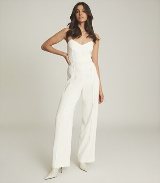 Reiss Bea - Buckle Detail Jumpsuit in White