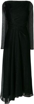 Talbot Runhof long-sleeved metallic dress