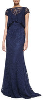 Monique Lhuillier Short-Sleeve Lace Gown with Popover Top