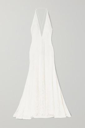 Michael Lo Sordo Alexandra Silk Guipure Lace Gown