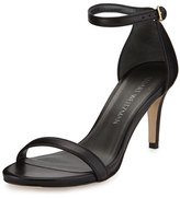 Stuart Weitzman Nunaked Leather Sandal, Black