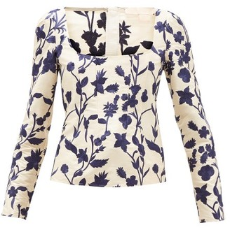 Brock Collection Square-neck Floral-embroidered Shantung Top - Ivory Multi
