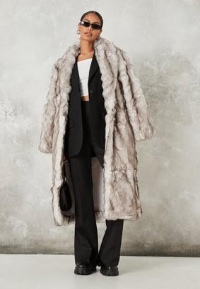 Missguided Premium Gray Faux Fur Shawl Coat
