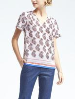 Banana Republic Paisley Pleat-Sleeve Top