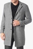 7 For All Mankind Long Overcoat In Herringbone Grey