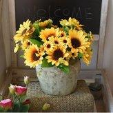 Artificial Flower SituMi SituMi Artificial Fake Flowers Sunflower Yellow Decoration Garden,Weaving A Basket Of Bonsai