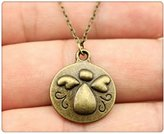 Nobrand No brand simple vintage antique bronze color angel pendant necklace