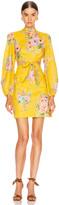 Zimmermann Zinnia Bow Cut Out Short Dress in Golden Floral | FWRD