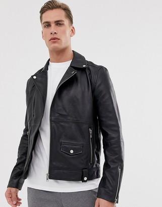 Barneys New York Barneys Originals real leather zipped biker
