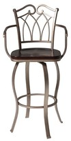 "Richmond Fashion Bed Group 30"" Barstool Metal/Mottled Silver/Dark Walnut Wood"