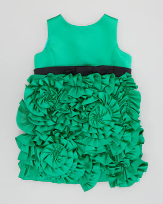 Milly Minis Rosette Satin Party Dress, Emerald, Sizes 2-6