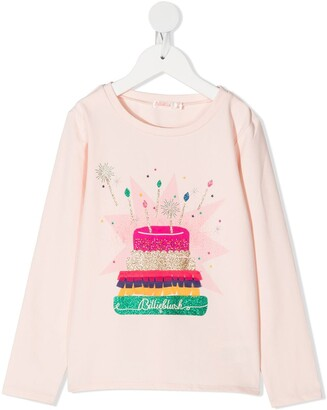 Billieblush glitter printed long sleeve T-shirt