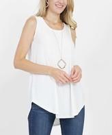 Lydiane Women's Tee Shirts IVORY - Ivory Crewneck Sleeveless Curved-Hem Top - Women
