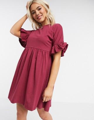 ASOS DESIGN super oversized frill sleeve smock dress in oxblood