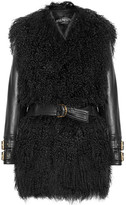 Balmain Shearling And Leather Coat - Black