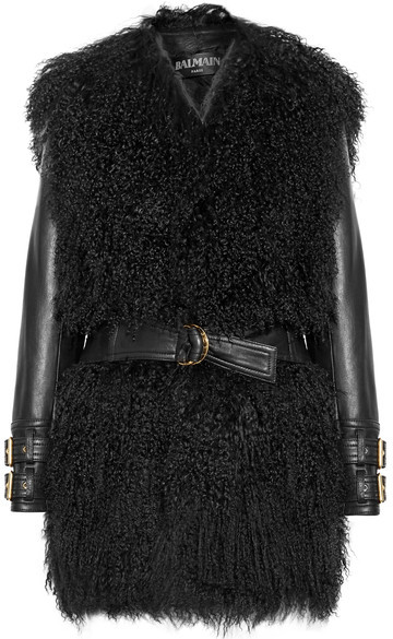 Balmain Shearling And Leather Coat - Black