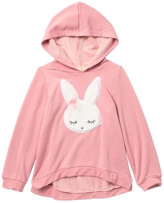 Btween Bunny Applique Banded High/Low Pullover Hoodie (Little Girls)