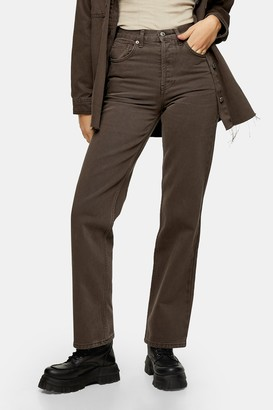 Topshop Womens Brown 90S Straight Jeans - Brown