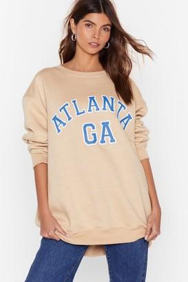 Nasty Gal Womens Take Me Back to Atlanta Oversized Sweatshirt - Beige - 4