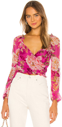 SAU LEE Frances Silk Top