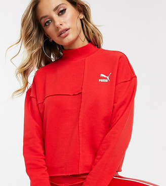 Puma Raw Edge Sweatshirt in red exclusive at ASOS