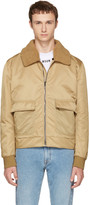MSGM Brown Shearling Collar Bomber Jacket