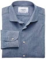 Charles Tyrwhitt Slim Fit Semi-Cutaway Collar Business Casual Chambray Mid Blue Cotton Formal Shirt Single Cuff Size 15.5/33