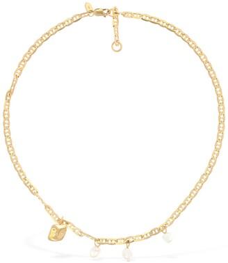 Maria Black Crew Short Necklace W/pearls & Charm