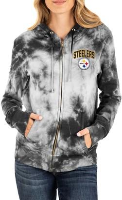New Era Women's Black Pittsburgh Steelers Tie Dye Fleece Full-Zip Hoodie