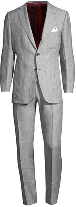 Kiton Light Grey Linen Suit