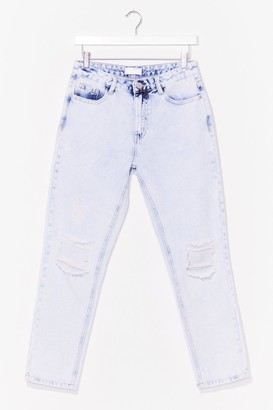 Nasty Gal Womens Washing Out for You Distressed Mom Jeans - Light Blue