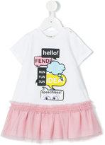 Fendi ruffled T-shirt dress - kids - Cotton/Polyamide/Spandex/Elastane - 3 mth