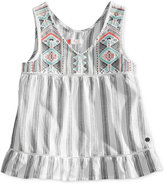 Roxy Embroidered Stripe Cotton Tank, Big Girls (7-16)