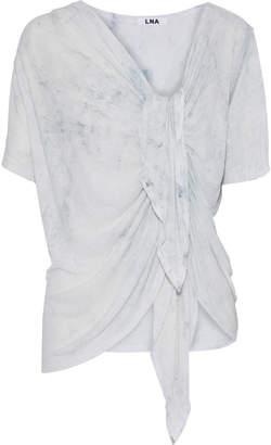LnA Ema Gathered Tie-dyed Slub Linen-blend Jersey T-shirt